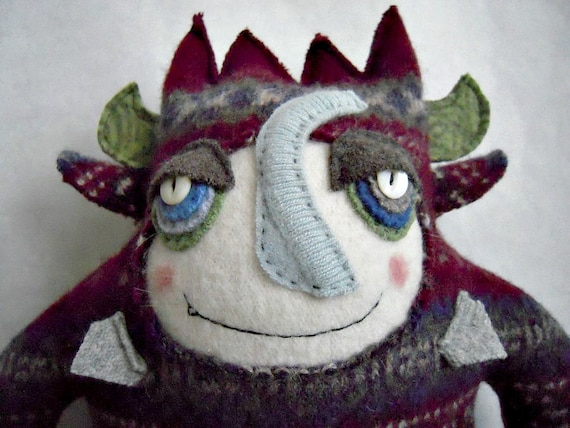 Stuffed Animal Monster Striped Wool Sweater Upcycled Recycled Repurposed