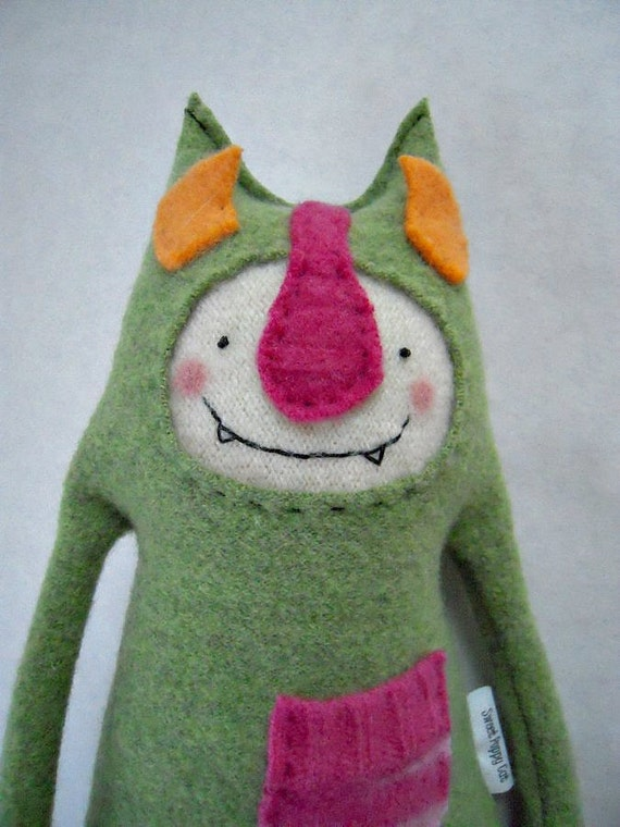 Wool Stuffed Animal Monster Sweater Green Tooth Fairy Pillow Upcycled Repurposed