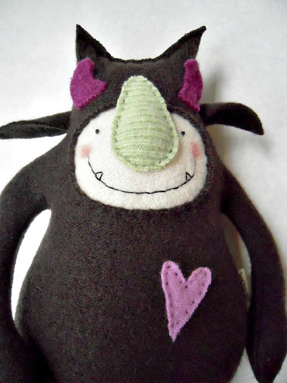 Stuffed Animal Monster Chocolate Wool Upcycled Sweater Repurposed Recycled