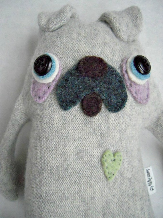 Stuffed Animal Pug Cashmere Felted Sweater Repurposed