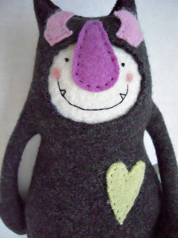 Stuffed Animal Monster from Upcycled Wool Sweater