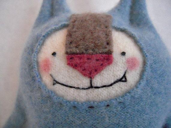 Stuffed Animal Sweet Blue Cashmere Cat Upcycled Sweater