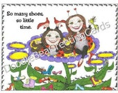 Encouragement Greeting Card, Fun, Ladybugs, So Many Shoes Greeting Card   (E112)