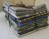 """Fabric bundle of Sixteen 12""""x12"""" (approx. sz.) Squares in coordinating blue patterns"""