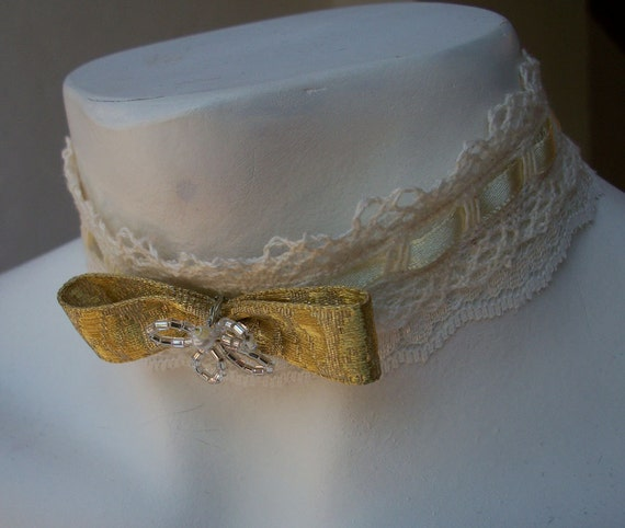 Gold, Cream and Lace Bowtie Choker