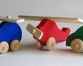Wooden Toy Set Helicopter Car Airplane Natural Waldof Push Heirloom Toy