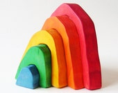 Small rainbow stacker Eco-friendly wooden toy