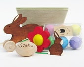 Easter Set- Natural Wooden Waldorf Toys- eco friendly bunny eggs- personalized gift