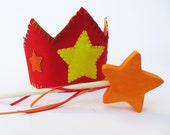 Wool Star Crown and Wooden Wand Set- Waldorf Gift Set- Birthday Crown