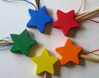 5 Wooden Star Wands- Party Pack
