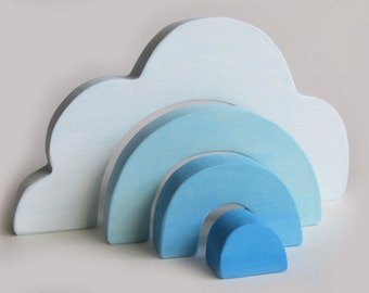 Wooden Cloud Stacker Waldorf Toy Natural Heirloom Puzzle
