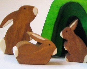 Wooden Toy Bunny Rabbit Family Eco-friendly Wooden Easter Heirloom