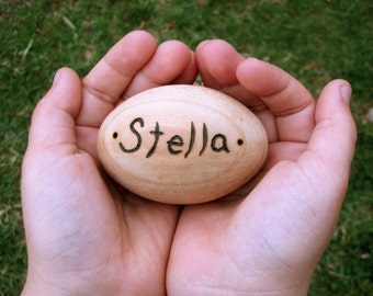 Personalized wooden egg- waldorf natural toy teether Easter Holiday Decor
