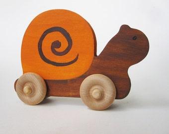 Wood toy Snail Push Toy- Waldorf- Eco-friendly