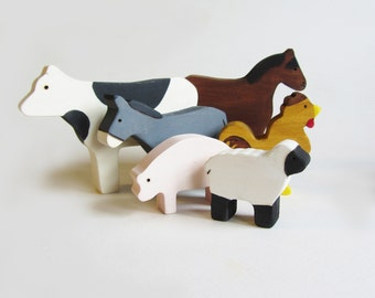 Wooden Farm Animals Waldorf Eco Friendly Toy Set Heirloom
