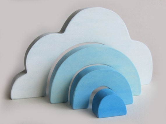 Wooden Cloud Stacker- Waldorf Toy- Eco-friendly