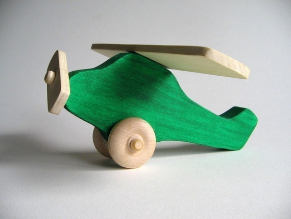 Green Wooden Airplane Waldorf Toy