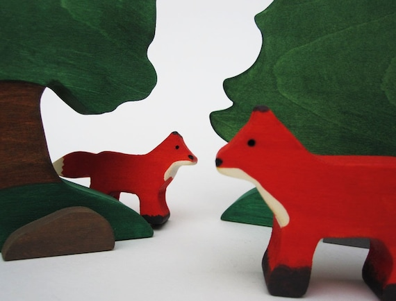 Wooden Fox Toys- Waldorf Nature Table- Eco Friendly