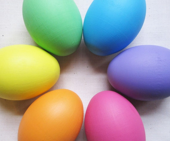 Wooden Easter Eggs Pastel Rainbow - Waldorf Montessori- Natural Toys- Holiday Decor