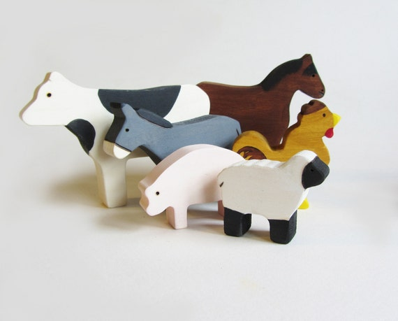 Wooden Farm Animals Waldorf Eco Friendly Toy Set Heirloom