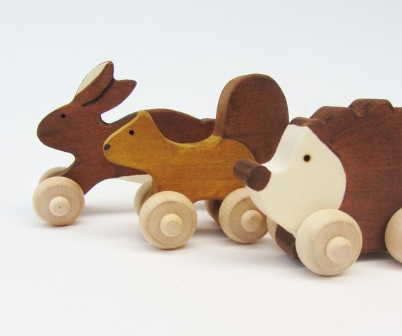 Woodland Animal Set- Eco Children Friendly Mini Push Toys- Waldorf Wooden
