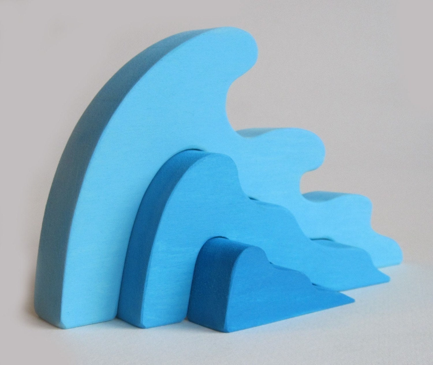 Stacking Toy Puzzles : Wooden wave stacking puzzle waldorf toy