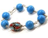 Marine blue and Kashmiri clay bead bracelet