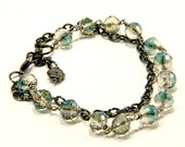 Chain and linked faceted ab finished  glass beads