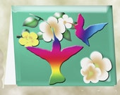 Rainbow Hummignbrids on Light Teal Background - Special Listing for BOBBI-INSPIRED BY MARIE