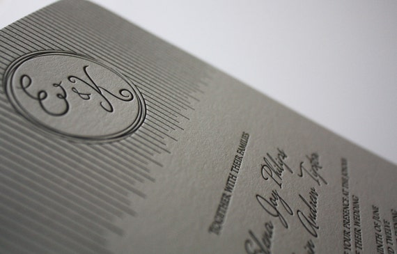 Lovely Lines Letterpress Wedding Invitation Sample on Premium Cotton Cardstock