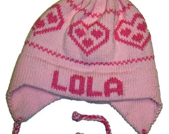 Personalized Earflap Hat - Hearts