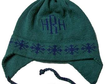 Personalized Earflap Hat - Snowflakes Monogram
