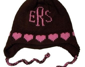 Personalized Earflap Hat - Hearts Monogram