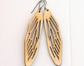 large wooden cicada wing earrings