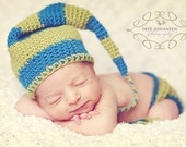 Two Pattern Package Baby Striped Nightcap Beanie and Diaper Cover Pdf Crochet Patterns Sizes Newborn, 3-6 months, and 6-12 months