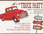Truck Party Invitation - Retro Truck, Vintage Truck, Old Ford or Chevy Truck
