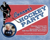 Hockey Party Personalized Photo Invitations