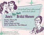 Retro Beehive Hairdo Bridal Shower, Baby Shower, or Birthday Invitations