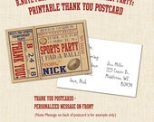 Pro Sports Ticket Printable Thank You Postcards