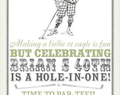 Vintage Golf Party Invitation - Birthday, Shower, Any Occasion, Man or Woman