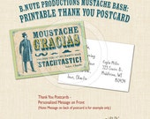 Mustache Bash Printable Thank You Postcards