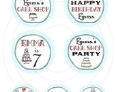 Cake Party - Printable Circular Tags 2 Sizes - Digital File Delivery