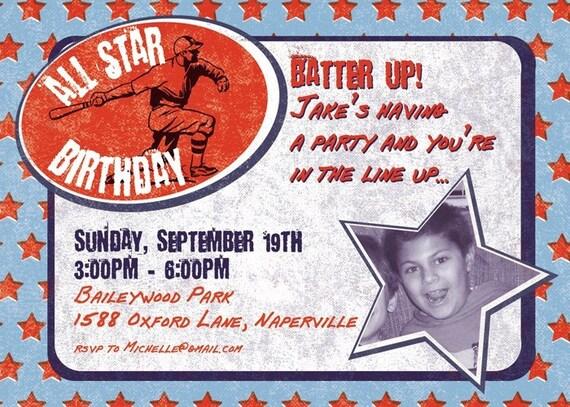 All Star Baseball Birthday Party Personalized Digital Invitation