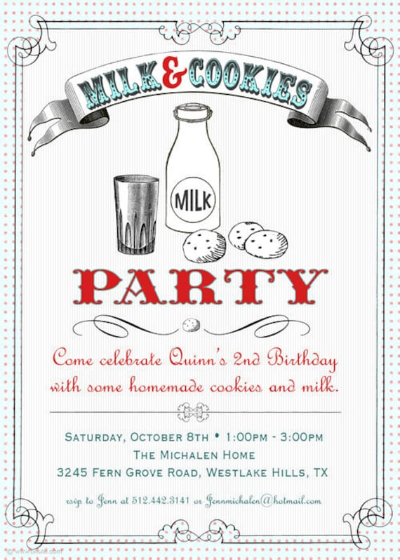 Milk and Cookies Party Invitation - Birthday, Bridal or Baby Shower, Any Occasion