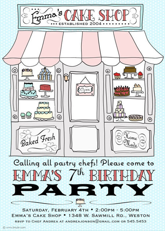 Cake Party Invitation - Birthday, Bridal or Baby Shower, Any Occasion