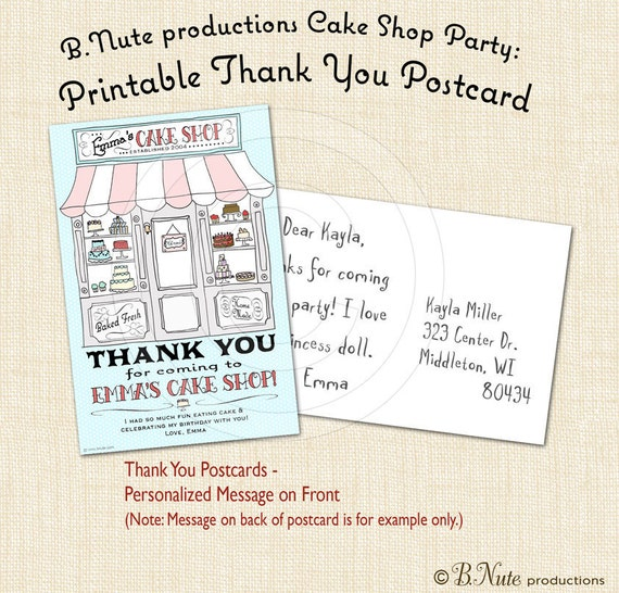 Cake Party Printable Thank You Postcards