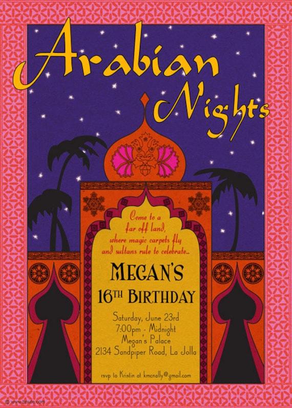 items similar to arabian nights invitation