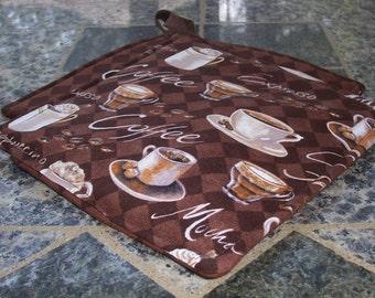 Kitchen Potholders // My Java // Cafe Potholders // Brown Potholders // Coffee Cup Potholders // Hot Pad // Breakfast Potholder