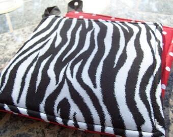 Kitchen Fabric Potholders - Set of 2 - Zebra -  Black and White Red Polka Dots Cloth
