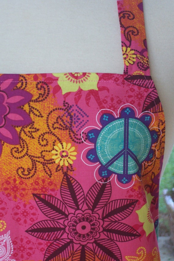 Womens Full Apron - Peaceful Flowers
